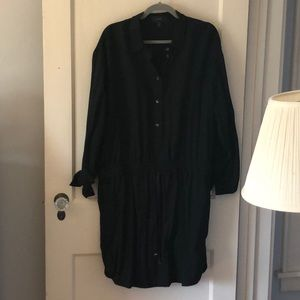 J. Crew black button down dress with pockets.